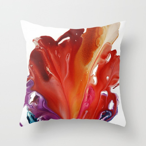 throw pillows with tropical flower in red and purple