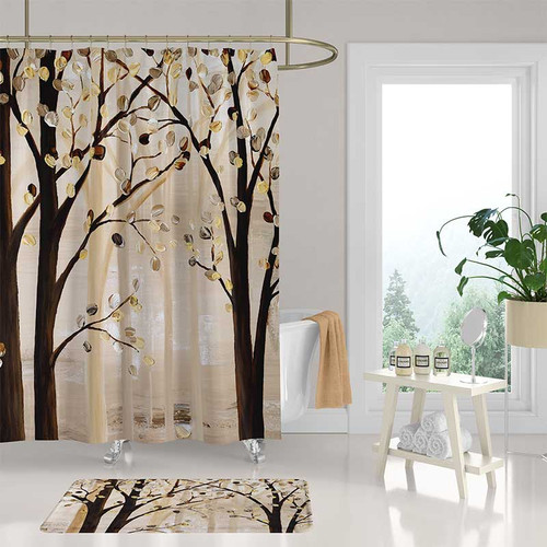 Art shower curtain and bathroom rug with trees
