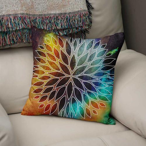 decorative cushion, orange, blue, purple
