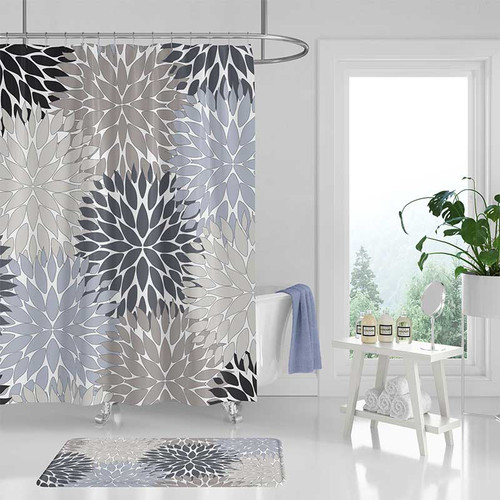 Shower curtain and bath mat set with floral design in gray, beige and blue