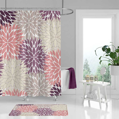 Shower curtain and bath mat set in pink and purple