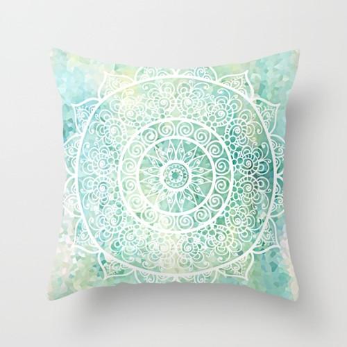 aqua and mint green throw pillow with mandala design