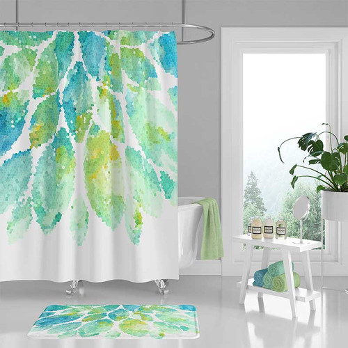 Mint Green Shower Curtain And Bath Mat With Mandala Design