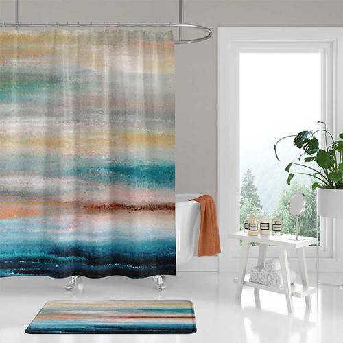 beach shower curtain, coastal bathroom decor