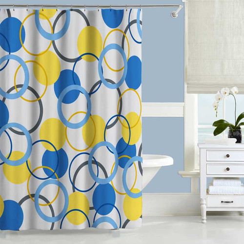 Shower Curtain Bath Curtain with Roses in Blue Purple and Yellow