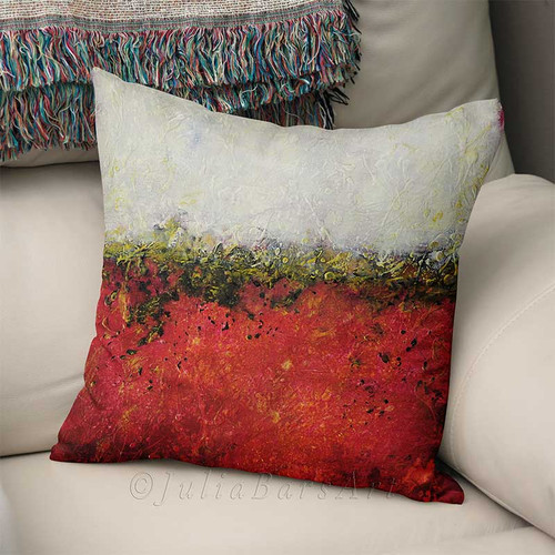 decorative cushion, throw pillow with abstract art in red and white