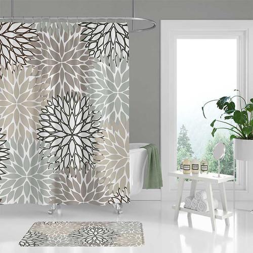neutral tones shower curtain and bath mat.
