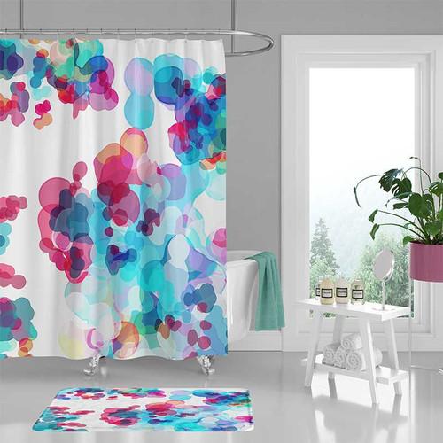 watercolor art shower curtain and bath mat, blue, pink, purple