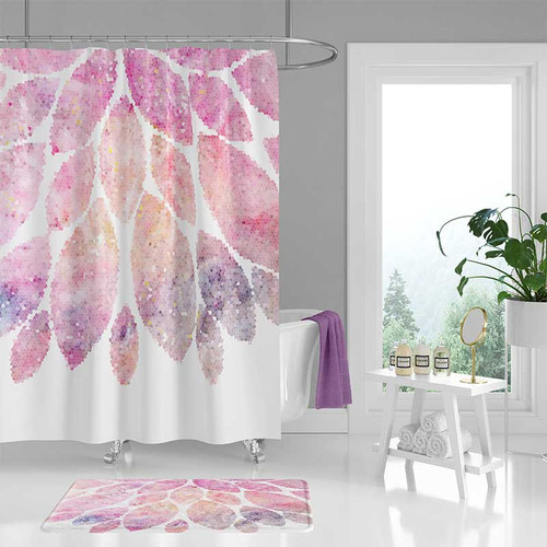 shower curtain set, bath mat, pink white bathroom decor