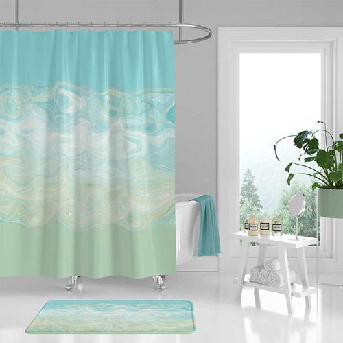 Shower curtain and bath mat, abstract design in  aqua blue and mint green.