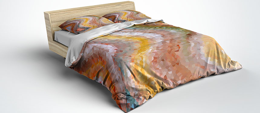 duvet cover in brown, orange and yellow with art design by julia bars