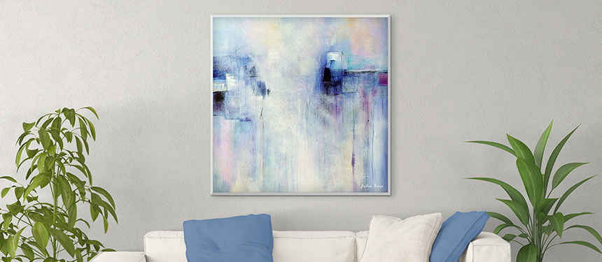 original abstract painting, blue, purple, white