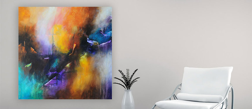 original abstract painting by julia bars on the wall