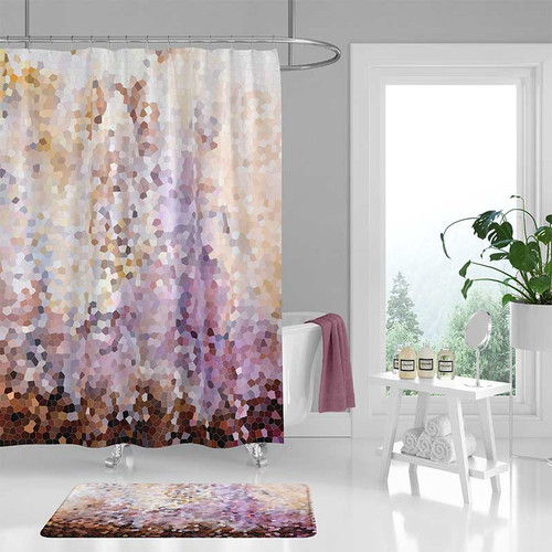 Abstract Shower Curtain And Bath Mat Brown Purple And Yellow