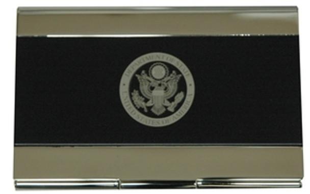 Matte Black/Brass-Coated Business Card Holder with Laser Engraved DOS Logo