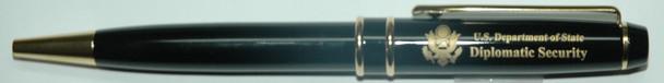 Ballpoint Pen w/ Custom Velvet Presentation Box - Diplomatic Security Logo