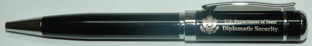 Hi-End Ballpoint Pen w/ Custom Velvet Presentation Box - Diplomatic Security Logo
