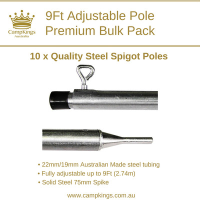 9Ft (274cm) Premium Pole Bulk Pack | Solid Steel Spigot | CampKings Australia