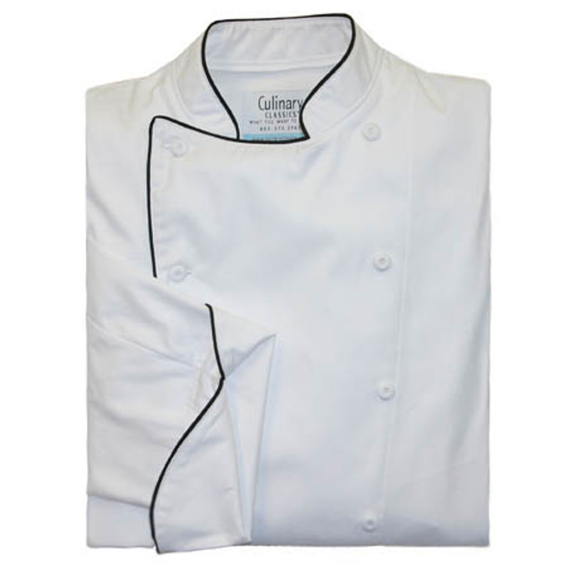 Traditional Chef Coat in White Egyptian Cotton with 3/4 Sleeves