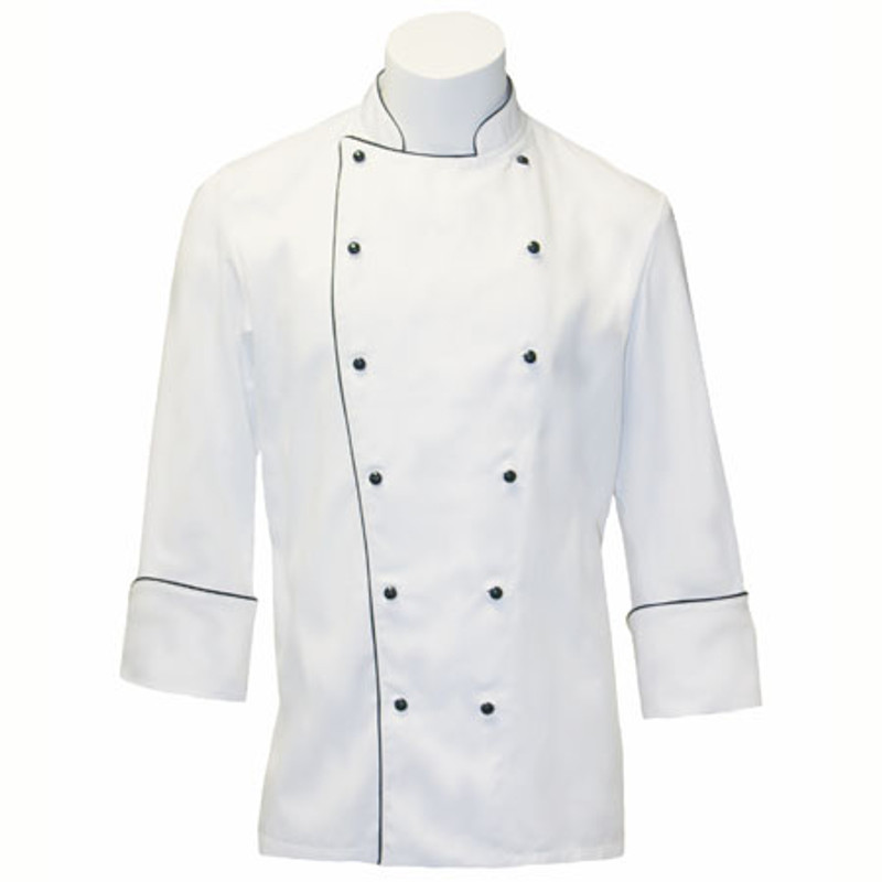 Traditional Chef Coat in White Organic Cotton Twill with Spruce Accents