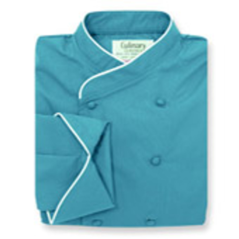 Women's Imperial Chef Coat in Peacock Poplin with White Cording