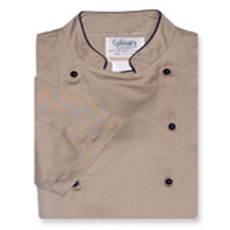 Women's Traditional Coat in Khaki Twill with Short Sleeves