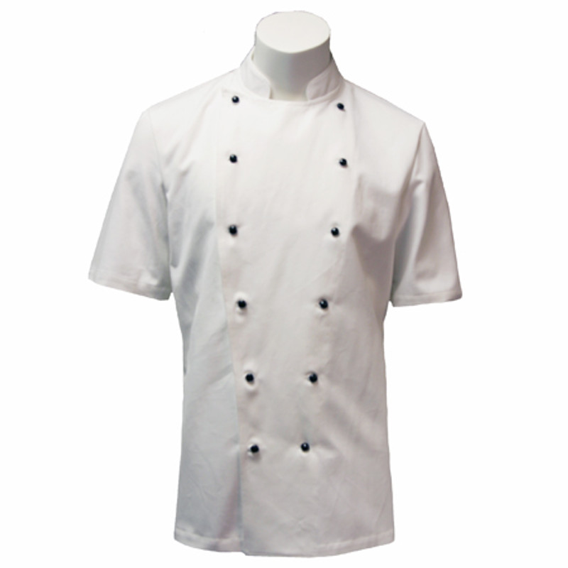 Traditional Chef Coat in White Organic Cotton with Black Studs