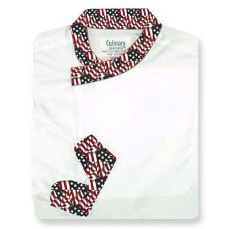 Tunic Chef Coat in White Egyptian Cotton with Old Glory Conversions