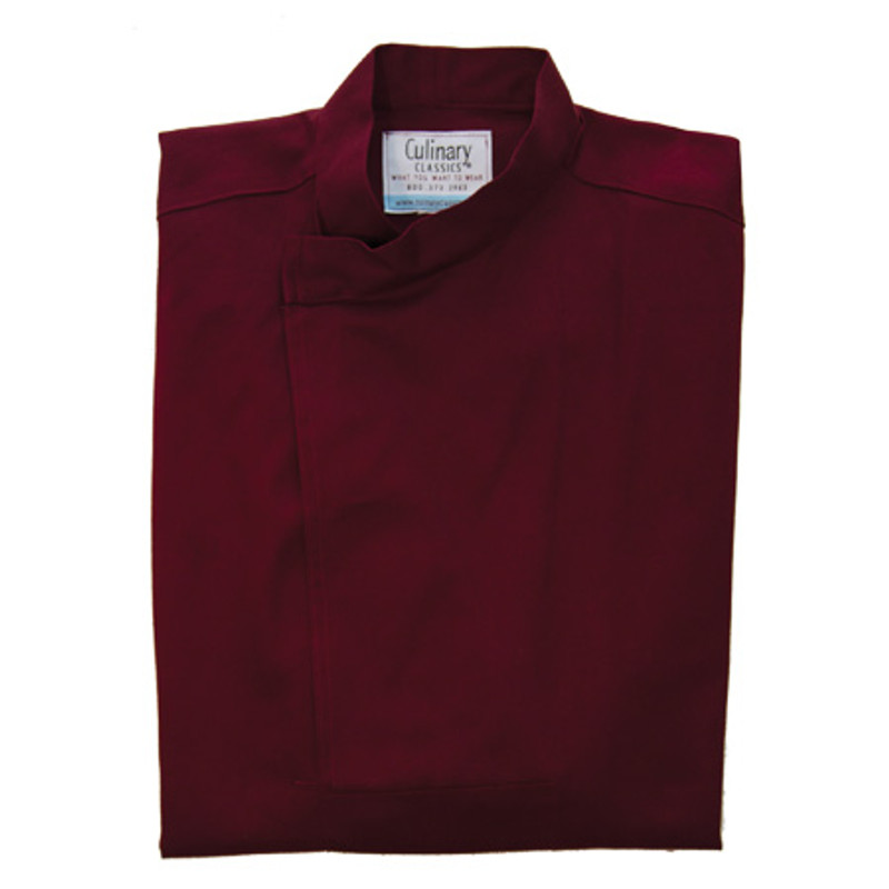 Tunic Chef Coat in Burgundy Twill with Sleeve Pocket