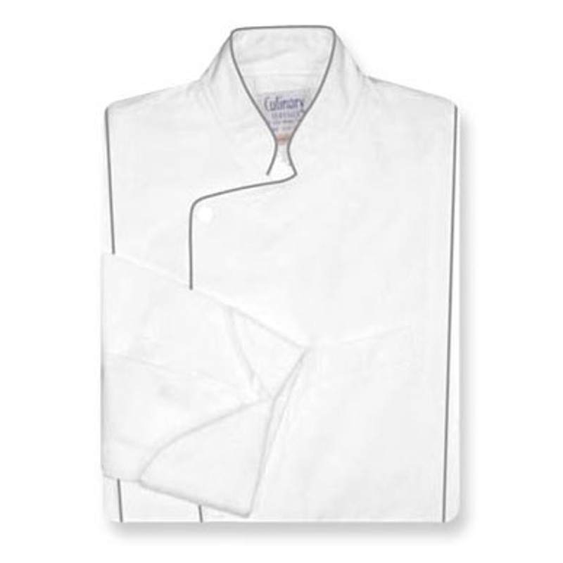 Milan Chef Coat in White Cotton with Gray Cording