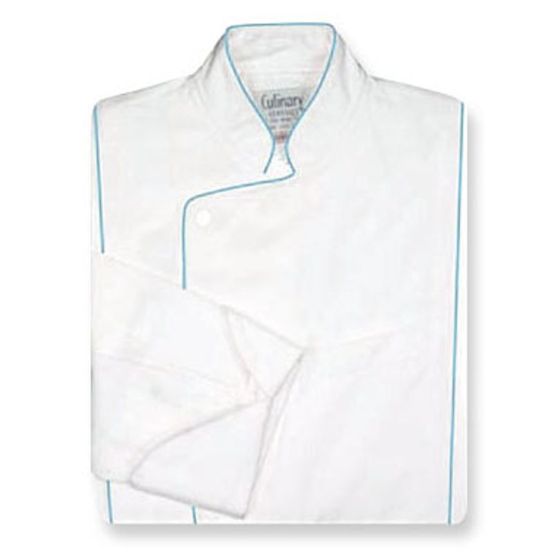 Milan Chef Coat in White Fineline Twill w/ Cloud Blue Accents