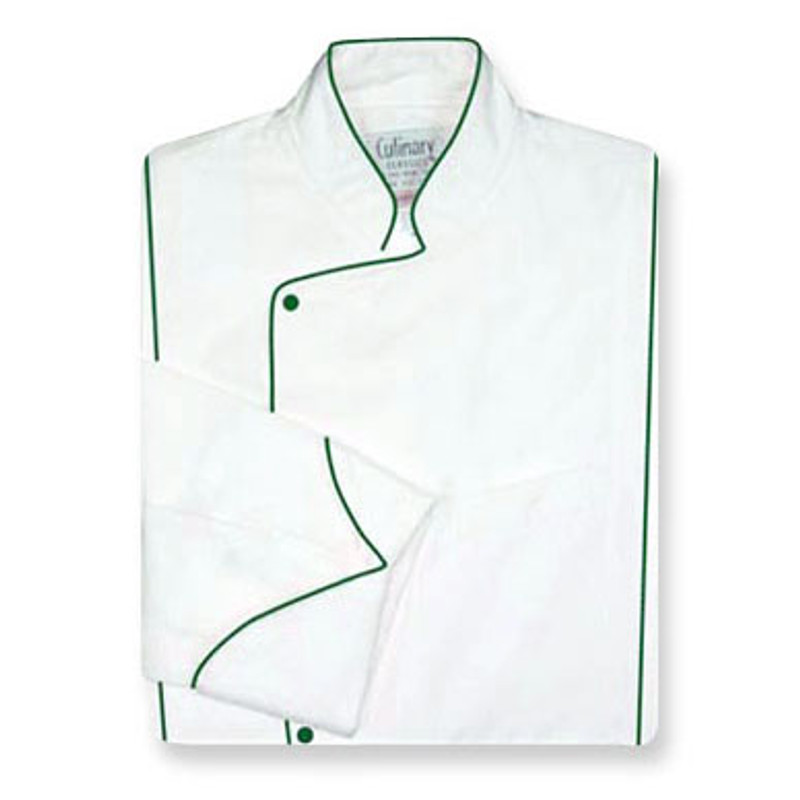 Milan Chef Coat in White Egyptian Cotton  with Spruce Green Accents