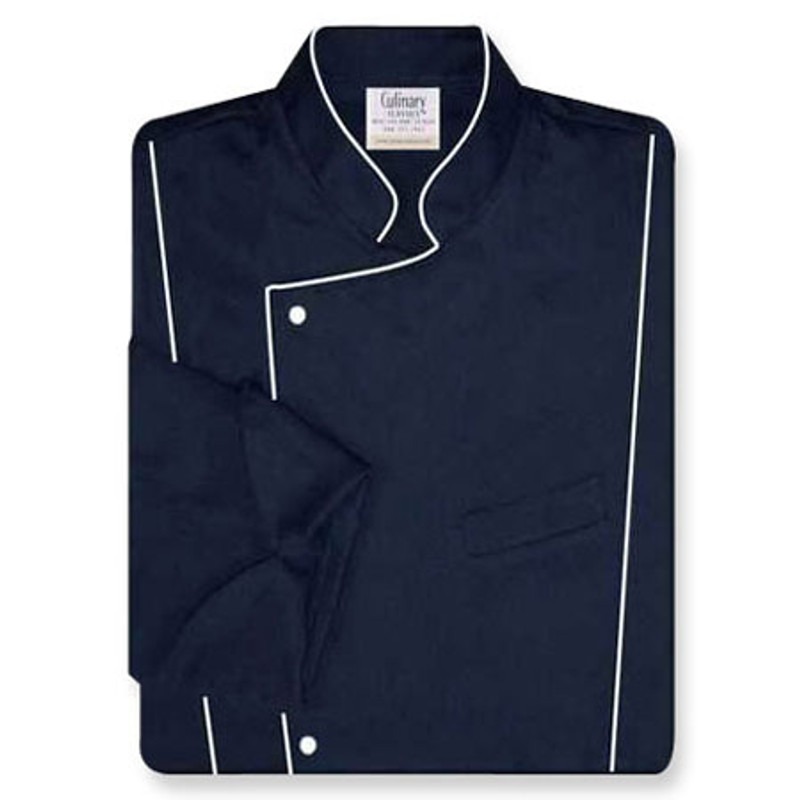 Milan Chef Coat in Navy Twill with White Accents