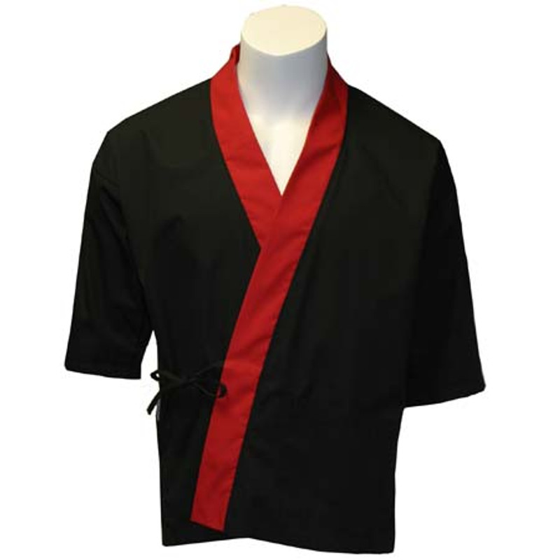 Sushi Chef Coat in Black with Red Trim