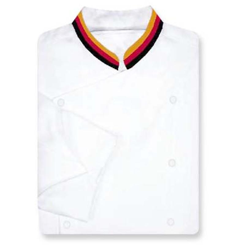 Venetian Chef Coat in White Fineline with Tri-Split Collar