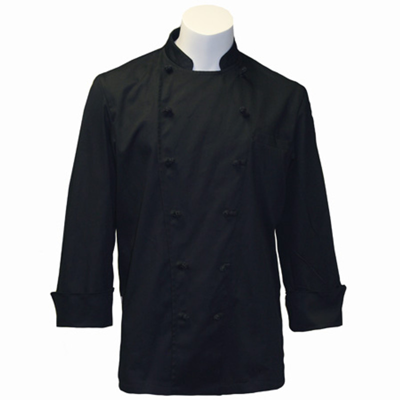 Traditional Chef Coat in Black Fineline Twill with Black Knot Buttons