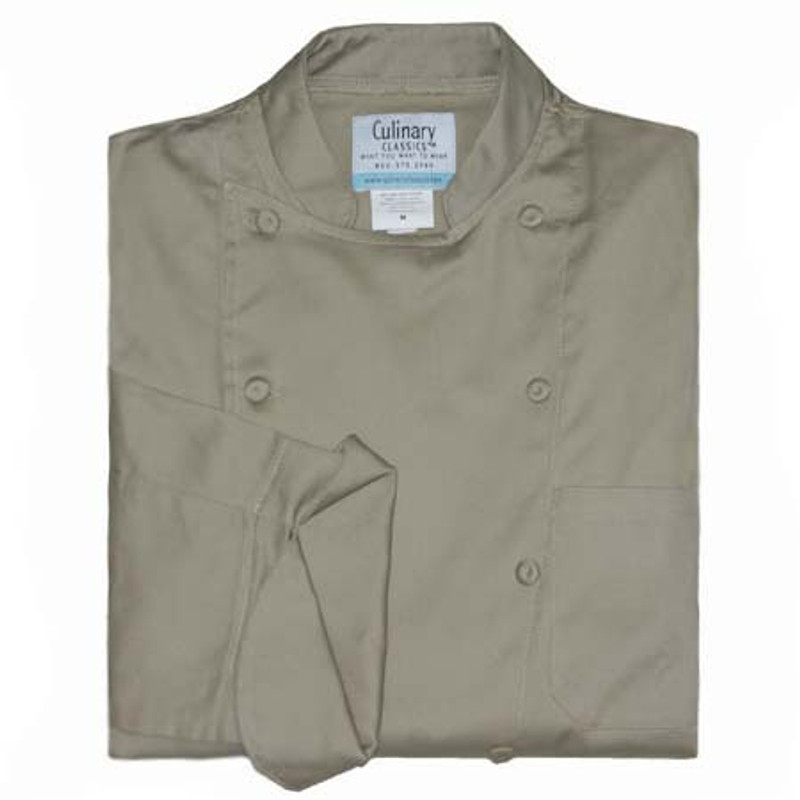 Traditional Chef Coat in Khaki Cotton Twill