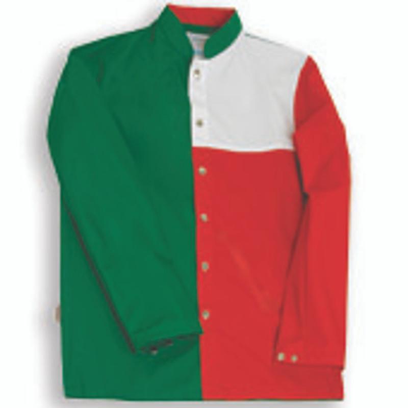 Tri-Color Chef Coat in Hunter Green, White, and Bright Red