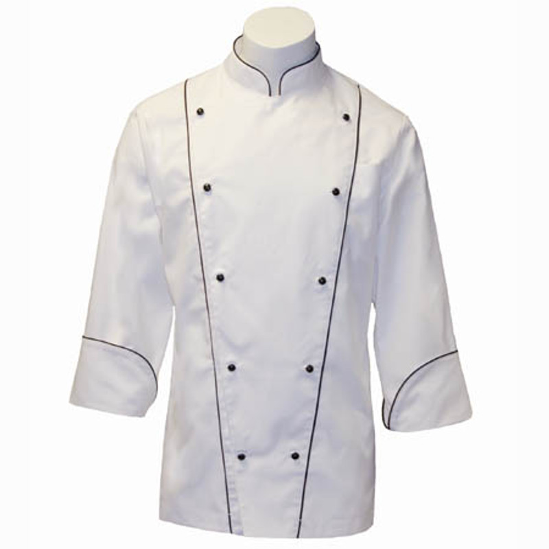 Corded Chef Coat in White Fineline Twill with Black Accents