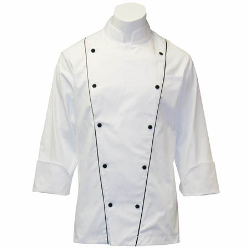 Corded Chef Coat in White Egyptian Cotton with Black Cording