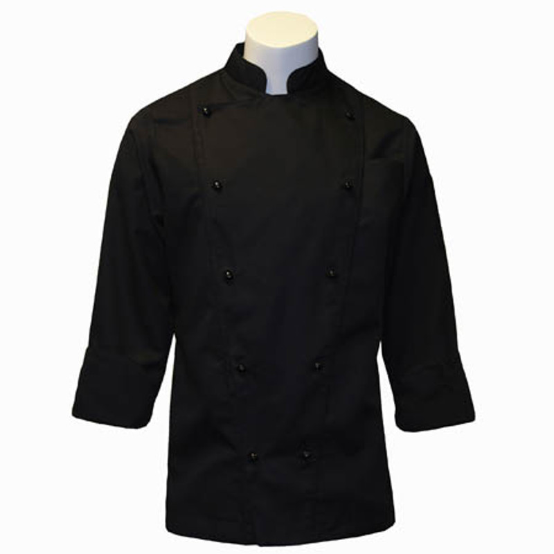 Corded Chef Coat in Black Fineline Twill with Black Cording