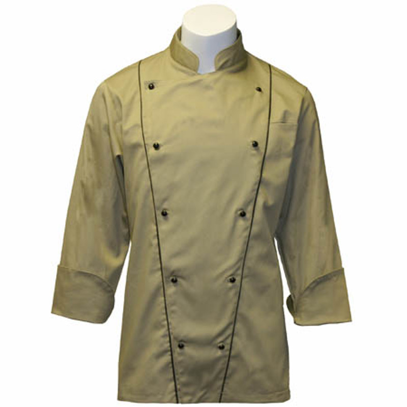 Corded Chef Coat in Khaki Cotton Twill with Black Accents