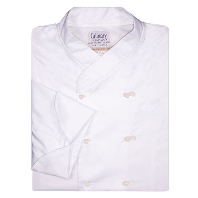 Imperial Chef Coat in White Poplin with Knot Buttons