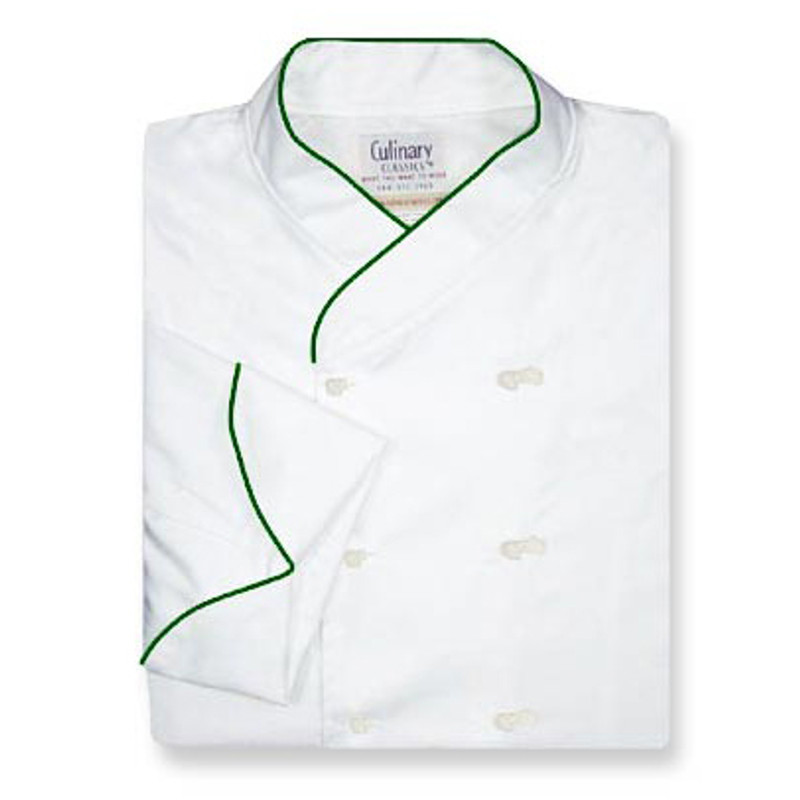 Imperial Chef Coat in White Egyptian Cotton with Spruce Cording