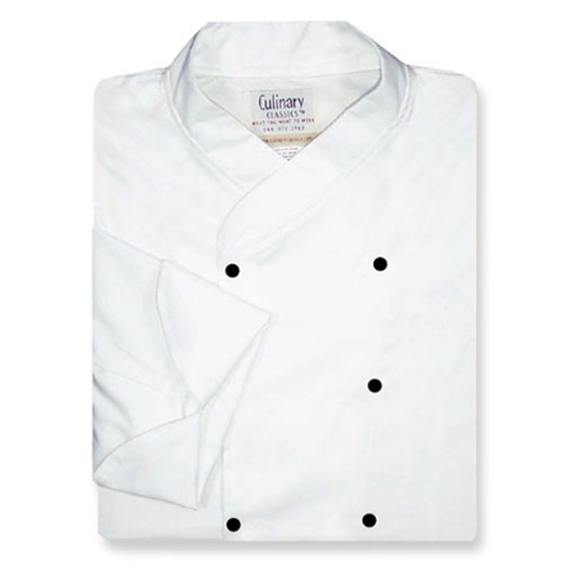 Imperial Chef Coat in White Midweight Cotton with Black Studs