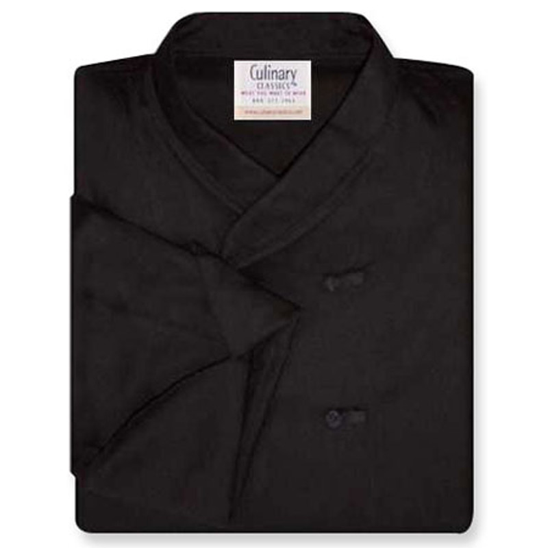 Imperial Chef Coat in Black Twill with Knot Buttons