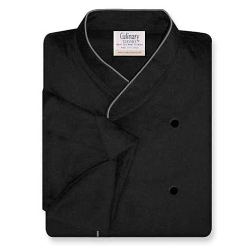 Imperial Chef Coat in Black Soil-Release Twill with Gray Cording