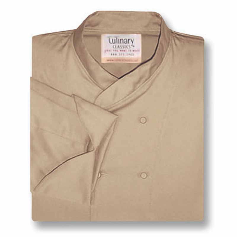 Imperial Chef Coat in Khaki Twill with Hand-Rolled Buttons