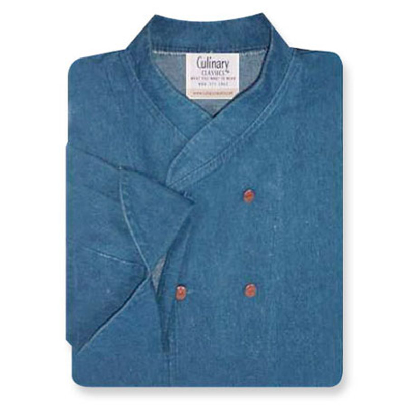 Imperial Chef Coat in Blue Denim with Copper Closures