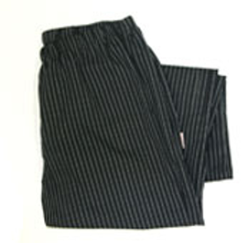 Women's Straight Leg Chef Pants in Black & White Pinstripe